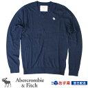 【2017FW新作!】アバクロンビー&フィッチ 正規品 アバクロ Abercrombie&Fitch メンズ Vネックセーター ニット:Icon V-Neck Sweater - Navy│ネイビー│紺【US限定モデル】