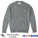 【新作!】アバクロ Abercrombie&Fitch アバクロンビー&フィッチ Vネックセーター Icon V-Neck Sweater グレー【US限定モデル】