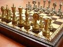イタリア製チェスメン&ボックス付きチェスボードセットStauntonFiorito- 82M221  伝統の巣タウントン風モデルにアラベスク柄を刻んだモデル【$】【定番】