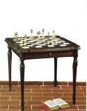 フィレンツェから届くイタリア製大理石チェスボード付きテーブル!お部屋のアクセントにも♪【レビューを書くと 】イタリア製大理石風≪アラバストロ石材≫モザイク ウッドチェステーブルta
