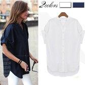 シャツ ブラウス とろみシャツ ノーカラー Vネック 白シャツ ロールアップ 夏 大きいサイズ XL 2L 3L 4L 5L 【555-skb18c】【予約販売】 メ込