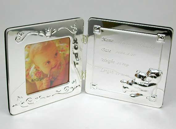 『銀仕上名入れベビーフォトフレーム ブック型 R...の商品画像