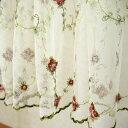 チュールレース&ローズ(薔薇)刺繍 カフェカーテン 約150x60cm【ゆうパケット選択可】 10P18Jun16