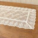小花刺繍ケミカルレーステーブルセンター 約40x75cm透明感と軽やかさのある繊細な刺繍