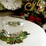 ★アミブルージュのクリスマス★カットワーク&刺繍クリスマスコースター(ベル)約14cm