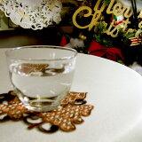 カットワーク&刺繍クリスマスコースター(ツリー)約14cm(ブラウン)