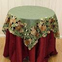 松かさ刺繍&カットワーククリスマステーブルクロス約85x85cm【ゆうパケット選択可】