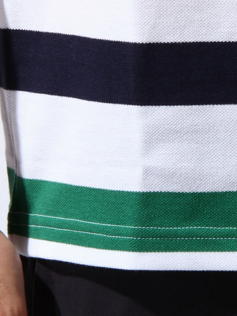 【0216_m】LACOSTE メンズ カットソー ラコステ LACOSTE (M)『HUDSONBAY×LACOSTE』 マルチボーダー ポロシ ラコステ カットソー【RBA_S】【RBA_E】