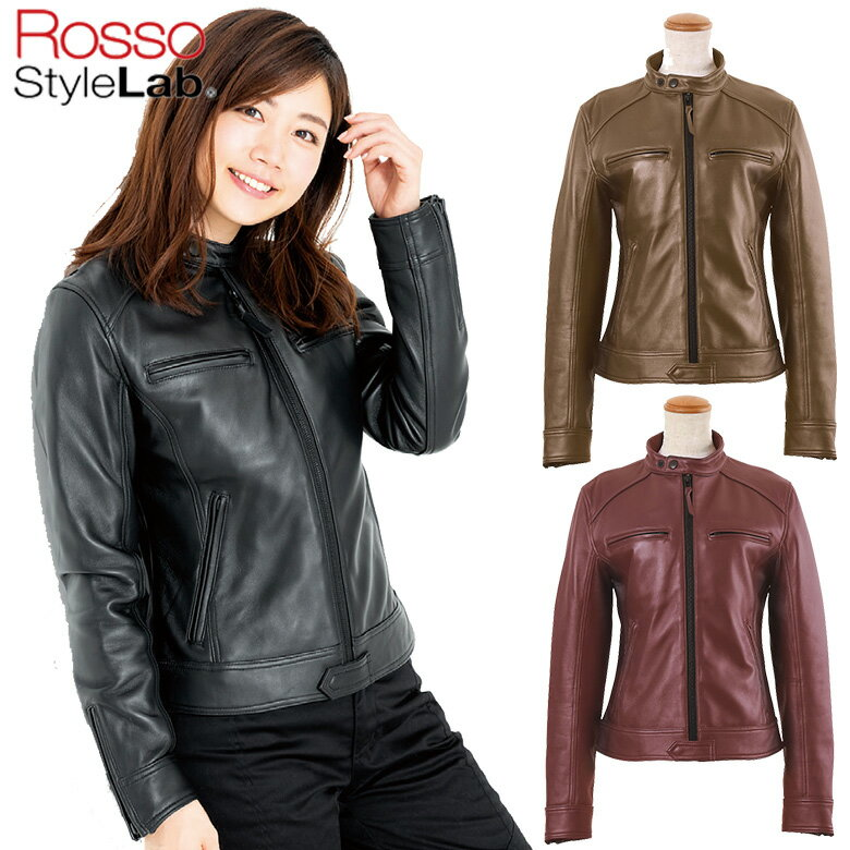 予約受付中レディースバイク用品ROSSOシングルレザージャケットシープレザー革かっこいいワイルド黒ボ