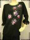 ショッピングかに コーラス衣装.コーラストップスに、身頃生地はストレッチ素材で、豪華な刺繍・ジルコン柄が華やかに上品に光ります。黒/ゆったりLLサイズ