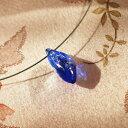 ショッピングガラス 『Blue Leaf / アイスロック』 ガラスアクセサリー ネックレス・ペンダント 立体造形タイプ