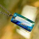 ショッピングガラス 『虹色のゆらぎ』 ガラスアクセサリー ネックレス・ペンダント 四角・多角・星タイプ