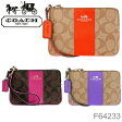 【COACH-コーチ-】Coner Zip Wristlet in Signature Coated Canvas with Leather[F64233][レディース アクセサリーポーチ]