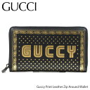 GUCCI グッチ Guccy Print Leather Zip Around Wallet[5104880GUSN]