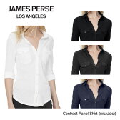 【James Perse-ジェームスパース-】Contrast Panel Shirt[WUA3042][レディース・トップス・ブラウス・コントラスト・パネル・シャツ]