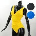 【並行輸入品】【ご返品不可】『Kate Spade-ケイトスペード』Contrast Scalloped Plunge One Piece[S96241]-スカラップ ワンピース ..