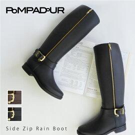 ��Pompadour-�ݥ�ѥɡ���-��SideZipRainBoot-�����ɥ��åץ쥤��֡���-[Ĺ���ե����ʡ����С��֡��ĥ٥�ȥ���å����Фᥫ�å�����]
