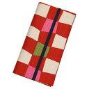 二つ折りカードケース ゴム止 「市松 赤」 カードケース 二つ折り カード入れ 手帳型 薄型 綿 布製 和風 和柄 日本製 【メール便対応商品】