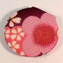 古布柄 丸立て鏡 紫【メール便対応商品】和柄 ちりめん 小物 プレゼント ギフト コンパクト 折りたたみ 携帯 かわいい