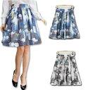 大きいサイズ レディース スカート 総柄 エアリースカート フレアスカート タックスカート