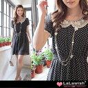 白レース襟シフォンドット水玉半袖ワンピース/LLサイズ3Lサイズ4Lサイズ13号15号17号19号洋服婦人服通販