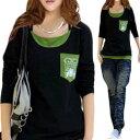 大きいサイズ レディース 大きいサイズ 秋冬 春 長袖 Tシャツ カットソー 黒×緑 カットソー トップス ロングカットソー ロング丈 cutsew 長そで Tシャツ LL 13号 3L 15号 4L 17号 人気 安い グリーン