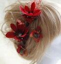 ショッピングプリザーブドフラワー プリザーブド フラワー と 造花 ヘッドドレス 髪飾り 二次会 パーティー ウェデイング ブライダル 結婚式 舞台 写真 コーラス 演出 成人式 造花 髪飾り ゴージャス レッド 赤 花 フラワー ヘアアクセサリー