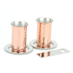【お取り寄せ】食楽工房 銅製食器 純銅鎚目一口ビール・コースター・栓抜き 5PCセット CNE923