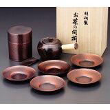 """音乐工作室铜减肥茶""""日本茶道的""""茶壶茶杯茶叶罐设置持有者CB524[食楽工房 銅製茶器《JAPANESE TEA》 急須・茶筒・茶托セット CB524]"""
