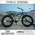 """【MODEL】""""26TYPE-X XTREME-BLACK""""""""湘南鵠沼海岸発信""""ファットバイク 26インチ《RAINBOW TYPE-X エクストリーム ブラック》COLOR:マットブラック×ブラックリム"""