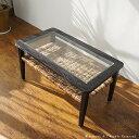センターガラステーブル リビングテーブル 木製 ラタン シャビーシック カフェ 天然素材 アジアン家具 ガラス コーヒー テーブル