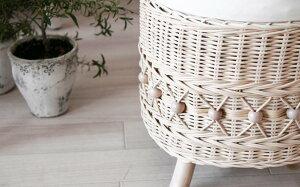 スツールfiore姫系家具C810WWホワイトウォッシュラタン籐椅子姫系ロマンチックカントリーナチュラルラブリー&ガーリーCT15