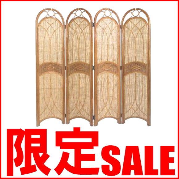 【あす楽】ラタンスクリーン アジアンスクリーン パーティション 4連籐 S701HR CT17