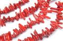 【連売り】レッドコーラル(赤珊瑚) チップ(ミニタンブル) 2x12mm 1連(約38cm)天然石 パワーストーン ビーズ パーツ _R1957