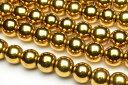 【連売り】【ヘマタイト ゴールドコーティング】6mm 1連(約38cm)天然石 パワーストーン ビーズ パーツ [R1721-6]