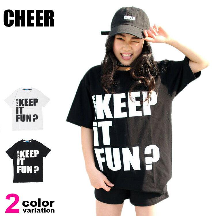 メール便送料無料CHEER(チアー)Tシャツ半袖メッセージプリントBIGTEEレディースキッズジュニ