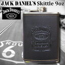 ジャックダニエル スキットル 9oz フラスク JACK DANIEL'S ステンレス製 黒 合皮 ヒップフラスク ジャックダニエルズ Jack Daniel's バー バーボン アウトドア キャンプ バイカー アメリカ雑貨 ジャック 西海岸風 インテリア アメリカン雑貨