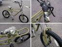 にじいろジーン BMX フリーキーバイク(マットオリーブ) FREAKY BIKE 自転車 通勤/通学、レジャーに買い物に♪ レトロ・カラータイヤ♪自転車 オシャレ 送料無料
