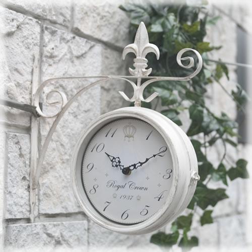 ノーブルアイアン ボスサイド ウォールクロック/壁掛け時計♪Lサイズ★両面時計♪アンティークホワイト