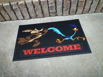 Roadrunner welcome rubber mat Wiley prairie wolf doorstep garage mat mat