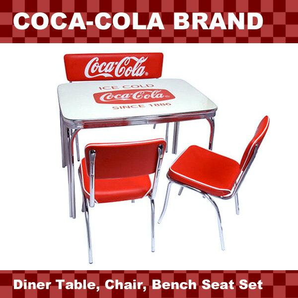 アメリカンダイナー COCA-COLA BRAND コカコーラブランド ダイナーテーブル、チェア、ベンチシートの4点セット(PJ-600DL、 PJ-105C×2、PJ-120C ) 西海岸風 インテリア アメリカン雑貨