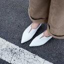 本革 ポインテッドトゥ Vカット フラットパンプス ぺたんこ靴 フラットシューズ