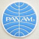 ロゴワッペン パンアメリカン航空 パンナム PANAM(ラウンド) 飛行機 WA0024 アイロン アップリケ パッチ アルファベット エンブレム 名前 ミリタリー 車 ディズニー ワッペン