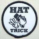 ワッペン Hat Trick ハットトリック(ラウンド) MTW-070 アイロン アップリケ パッチ アルファベット エンブレム 名前 ミリタリー 車 ディズニー ワッペン