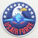 ミリタリーワッペン U.S.Air Force エアフォース アメリカ空軍(ワシ&戦闘機/ラウンド/L) MIW-015 アイロン アップリケ パッチ アルファベット エンブレム 名前 ミリタリー 車 ディズニー ワッペン