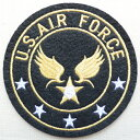 ミリタリーワッペン U.S.Air Force エアフォース アメリカ空軍(ブラック/ラウンド) MIW-002 アイロン アップリケ パッチ アルファベット エンブレム 名前 ミリタリー 車 ディズニー ワッペン