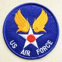 ミリタリーワッペン US Air Force エアフォース(ブルー/ラウンド) MIW-037 アイロン アップリケ パッチ アルファベット エンブレム 名前 ミリタリー 車 ディズニー ワッペン