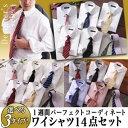 ワイシャツセット ネクタイセット 14点セット 【選べる3タイプ】 デザイナーが選んだ!1週間パーフェクトコーディネート Yシャツ ビジネスシャツ レギュラーカラー 白シャツ 長袖