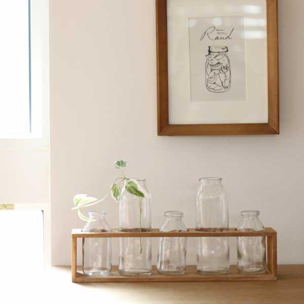 ファイブボトル・ウッデンボックス【フラワーベース インテリア ガラスボトル 花瓶 一輪挿し】【北欧 ナチュラル おしゃれ カフェ 雑貨】