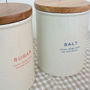 LOLO(ロロ) ラウンドキャニスター SALT SUGAR【キャニスター ソルト シュガー 陶器 保存容器 キッチン雑貨 木蓋 ナチュラル】